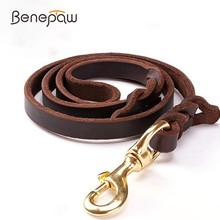 Benepaw High-end Cowhide Leather Leash Dog Handmade Durable Pet Leash For Large Dogs Brass-plated Hot Sale Pet Supplies Shop