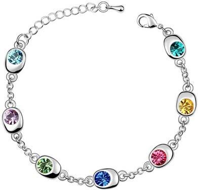 Подарок на день рождения, высокое качество, 7 бусин, Звездные глаза, браслеты с кристаллами, модные ювелирные изделия, 12 цветов, милые Подвески для женщин - Окраска металла: silver multi