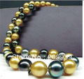 Hot sell Noble- SHIPPING>>>@@ AS1137 HUGE 1812-15MM NATURAL SOUTH SEA GENUINE GOLD BLACK MULTIC PEARL NECKLACE AAA