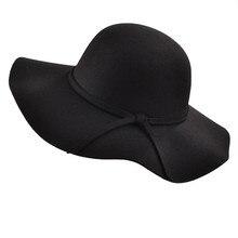 Простой винтажный Ретро стиль для малышей; для детей; для девочек Шляпы «Fedora» шерсть войлочный скручиваемый с широкими полями Клош флоппи солнце родитель-ребенок пляжная кепка