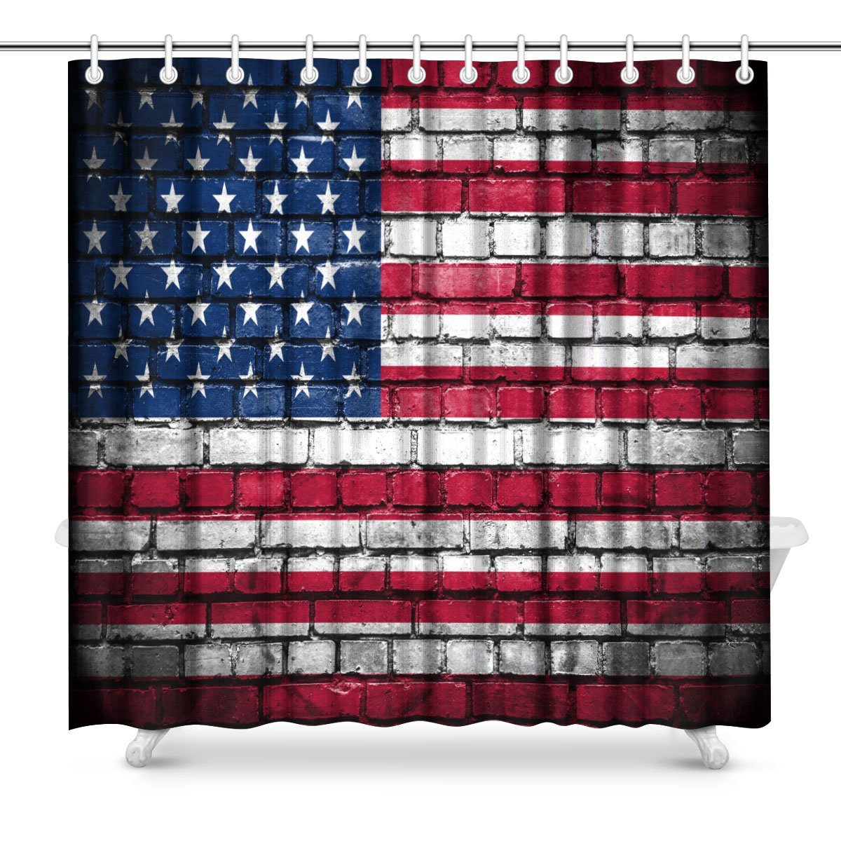 Brick Wall With Painted Flag Of United States America Fabric Bathroom Shower Curtain Decor Set Hooks In Curtains From Home Garden On
