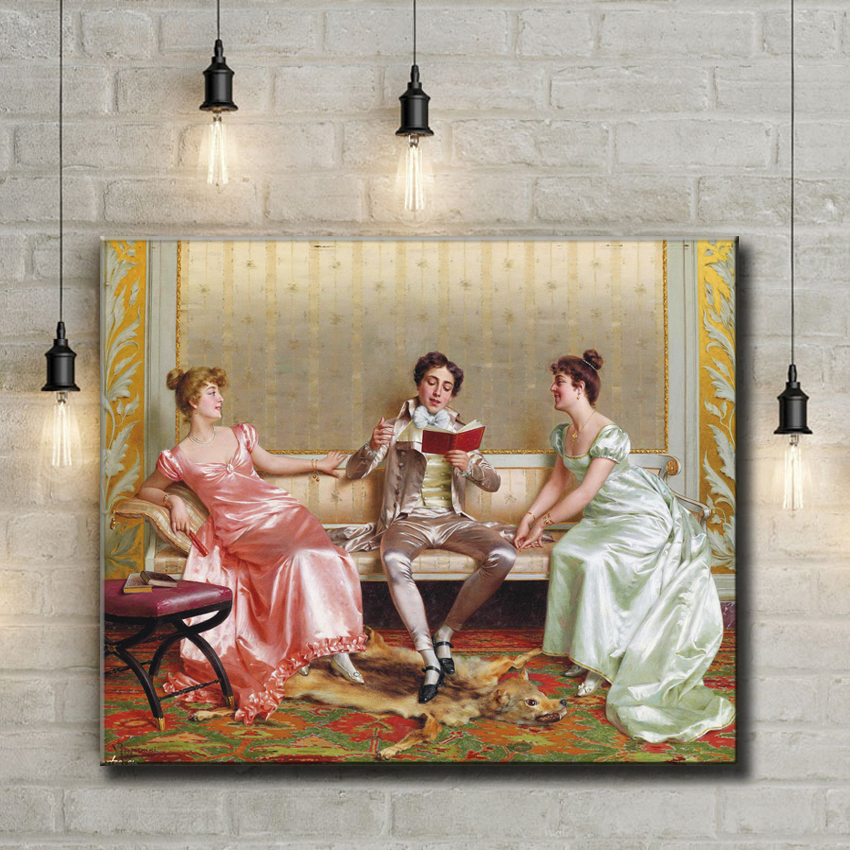 classical court figures reading the book oil painting canvas printings printed on canvas wall art decoration picture