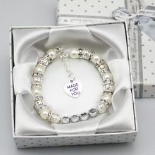New Personalised Girls baby name Birthday wedding Gift Charm Bracelet With Box