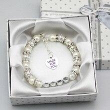 New font b Personalised b font Girls baby name Birthday wedding Gift Charm Bracelet With Box