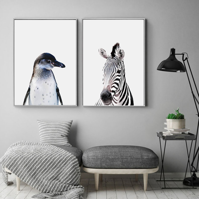 Hot Sale Penguin deer Zebra cow Poster Wall Art Parrot Canvas ...