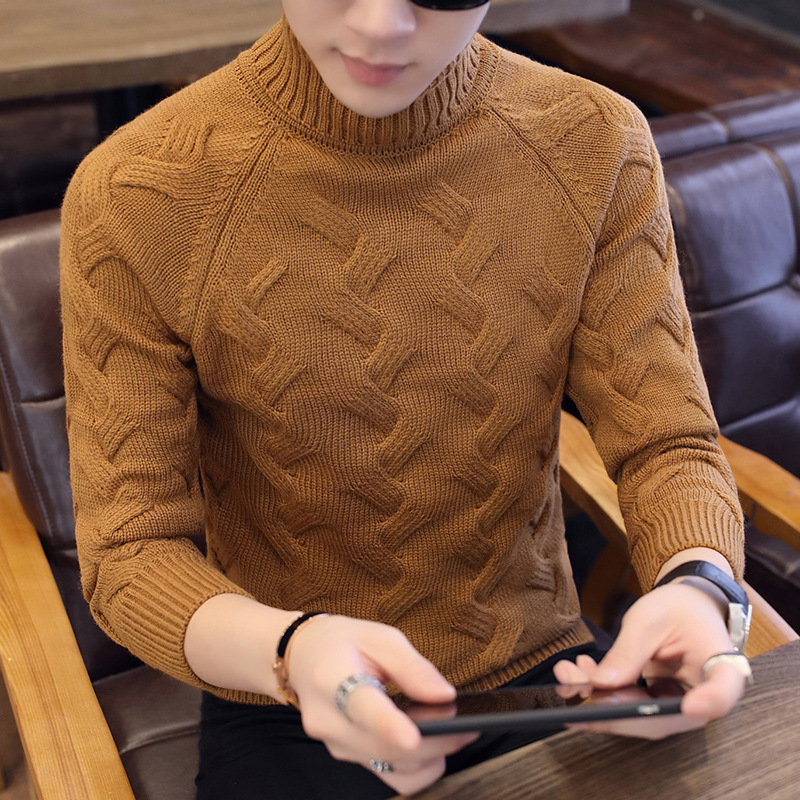 Autumn And Winter Sweater Slim Men's High Collar Sweater Youth Sweater Shirt