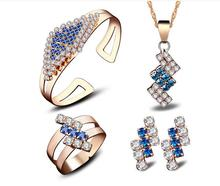 Uloveido Gold Plated high quality Jewelry Sets for Women gem crystal pendants Necklace cuff bracelet ring earring Alloy color