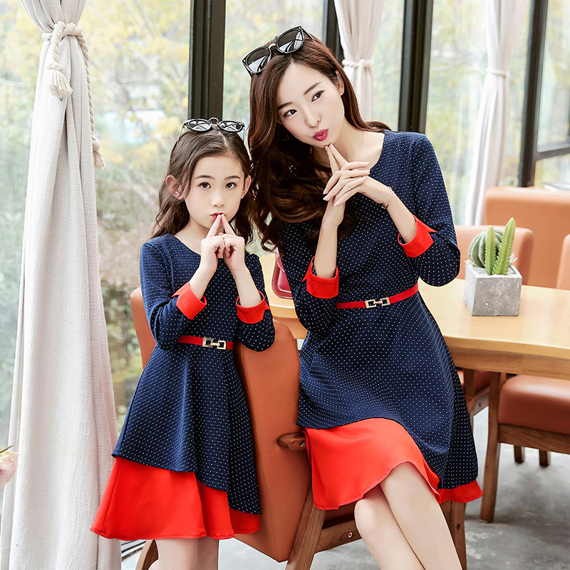 Mother Daughter Dresses Family Matching Clothes 2017 Autumn Evening Women Kids Slim Bodycon Dress Elegant Polka Dot Tutu Dress strappy ombre back zipped bodycon dress