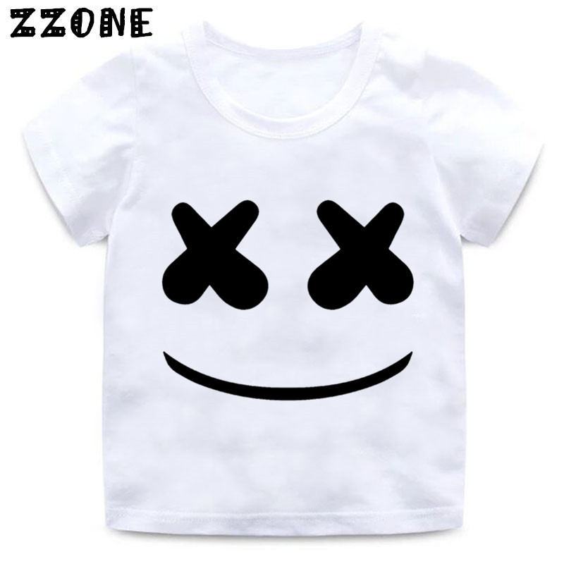 Boys And Girls Marshmello Face Smile Print T Shirt Baby Hip Hop Swag T-shirt Kids Summer Casual Clothes,ooo343