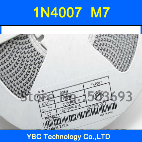 <font><b>1000pcs</b></font>/lot <font><b>1N4007</b></font> IN4007 4007 Rectifier Diode M7 SMD Silicon Rectifier Diodes image