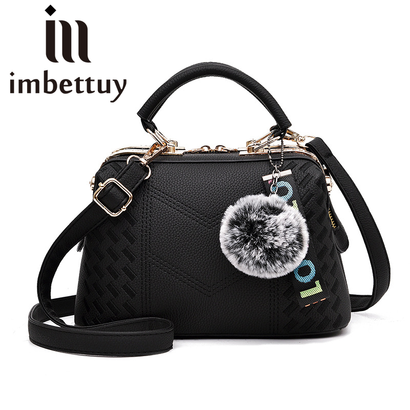 Imbettuy Womens Embroidery Fur Trim Handbags Ladies Cross-Body Bags Leather Messenger Shoulder Bag/Tote Shell Stlye diesel frill trim cross body bag