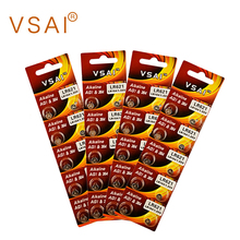 VSAI 40pcs/4packs AG1 364 SR621 Alkaline Coin Cell Batteries For Watch Thermometer MP3 1.5V