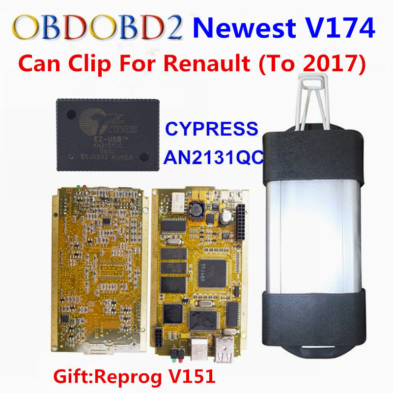 2018 Newest V174 For Renault Can Clip Full Chip Gold CYPRESS AN2131QC With NEC/OMRON Relay OBD2 Interface Diagnostic Scanner with bluetooth japen nec relay latest new vci vd tcs cdp pro bt obd2 obdii obd with best pcb chip green single board