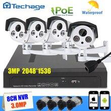 Techage Seguridad 8CH 5MP POE NVR Kit 4 unids 2048*1536 MEGAPÍXELES Al Aire Libre Verdadero Plug and Play P2P Cámara de interior del IP Sistema de Vigilancia de CIRCUITO CERRADO de televisión