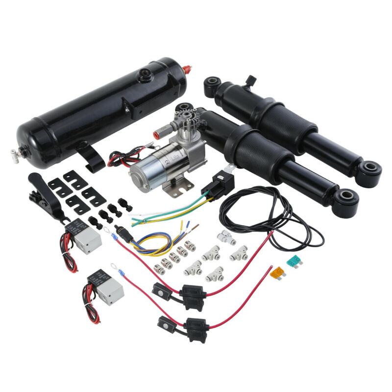 Motorcycle Rear Air Ride Suspension W/ Air Tank For Harley Touring Bagger Road Electra Street Glide Models 94-2020 16
