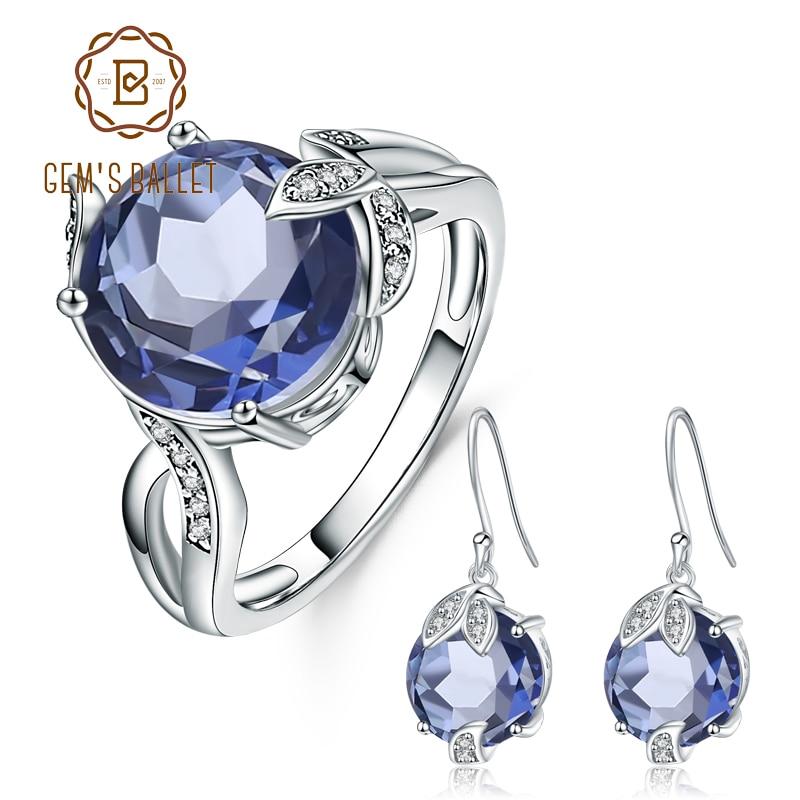 26dd0b76a646 Joya de Ballet 11.4Ct Natural iolita místico azul de piedras preciosas de  cuarzo pendientes anillo conjunto sólido conjunto de joyas de plata de ley  925 ...