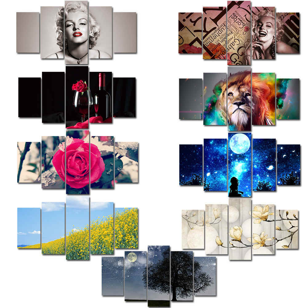 Unframed 5 Panels  Picture Print Painting Modern Canvas Wall Art for Wall Decor Home Decoration Artwork