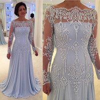 Lace Appliques Mother of the Bride Dresses Long 2019 Mother Wedding Party Dress robe de soiree Chiffon Pleat Wedding Guest Dress