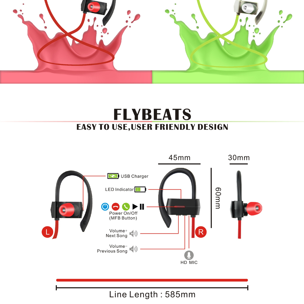 Tritina Wireless Noise Cancelling Sport Earphones