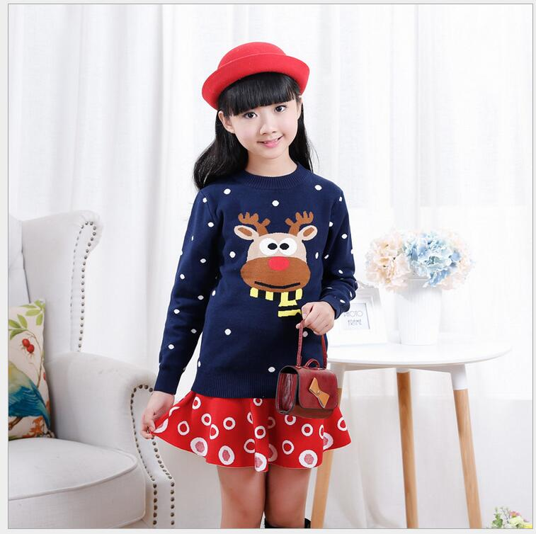 2017 Autumn Winter Baby Girls Sweater Casual Pull Fille Knitting Printted Character O Neck Full Cotton