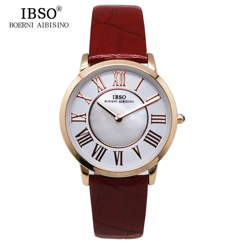 IBSO Brand Luxury Red Quartz Women Watches 2018 Shell dial Leather Band Ladies Watch Classic Fashion Clock Women Montre Femme цена