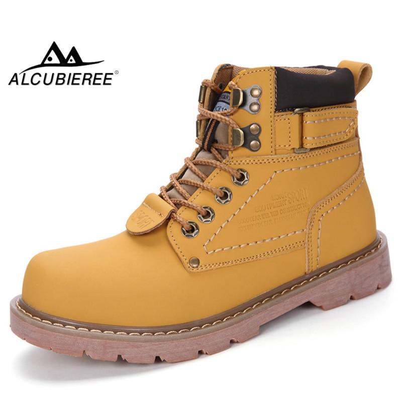 100% Wahr Alcubieree Echtem Leder Männer Winter Boot Männer Lace-up Warme Stiefel Mode Männer Motorräder Stiefel Ankle Botas Große Größe 46