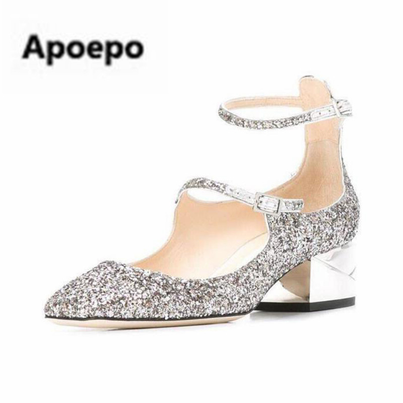 Apoepo brand women pumps bling bling sliver party shoes girls buckle cut-out low heels mary janes shoes women wedding shoes 2018 apoepo handmade wedding bride shoes bling bling crystal pregnant shoes 3 5 cm increased internal low heels shoes mary janes shoe
