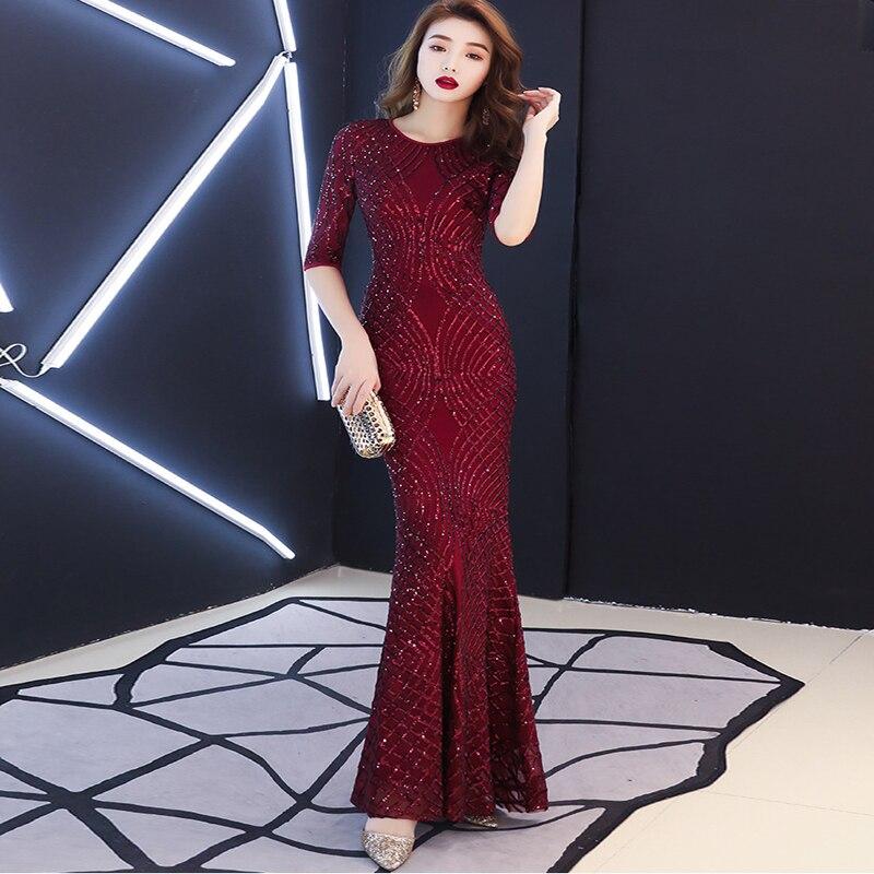 Grandes tailles robes de soirée élégantes arabie saoudite mode jolie sirène paillettes Appliques sirène longue robe 2019 robes de soirée