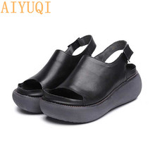 AIYUQI Sandals female 2019 summer genuine leather retro womens sandals, platform flat casual shoes European Roman sandals women