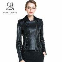Spring Sheepskin genuine leather jacket women motorcycle Turn down Collar female oblique zipper short black moto biker jacket