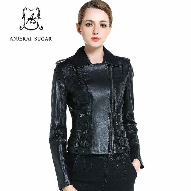 Spring Sheepskin genuine leather jacket women motorcycle Turn-down Collar female oblique zipper short black moto biker jacket