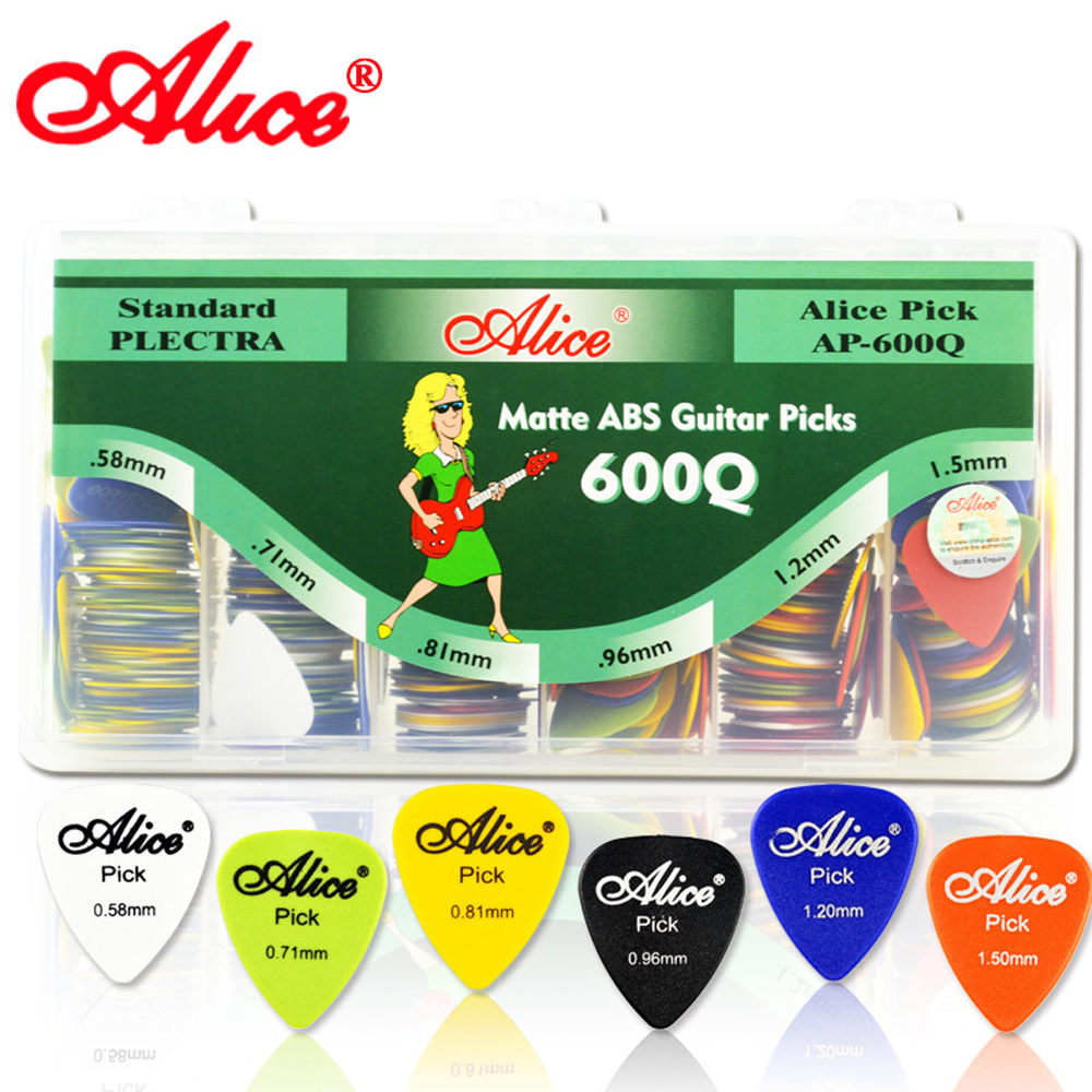 Alice 600pcs Mix Thicknesses Standard Size Guitar Picks AP-600Q Matt ABS Plectrum With Plastic Box