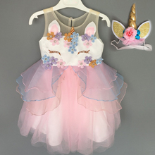 Toddler Unicorn dress + unicorn headband child girl clothes childrens costumes for girls cartoon party