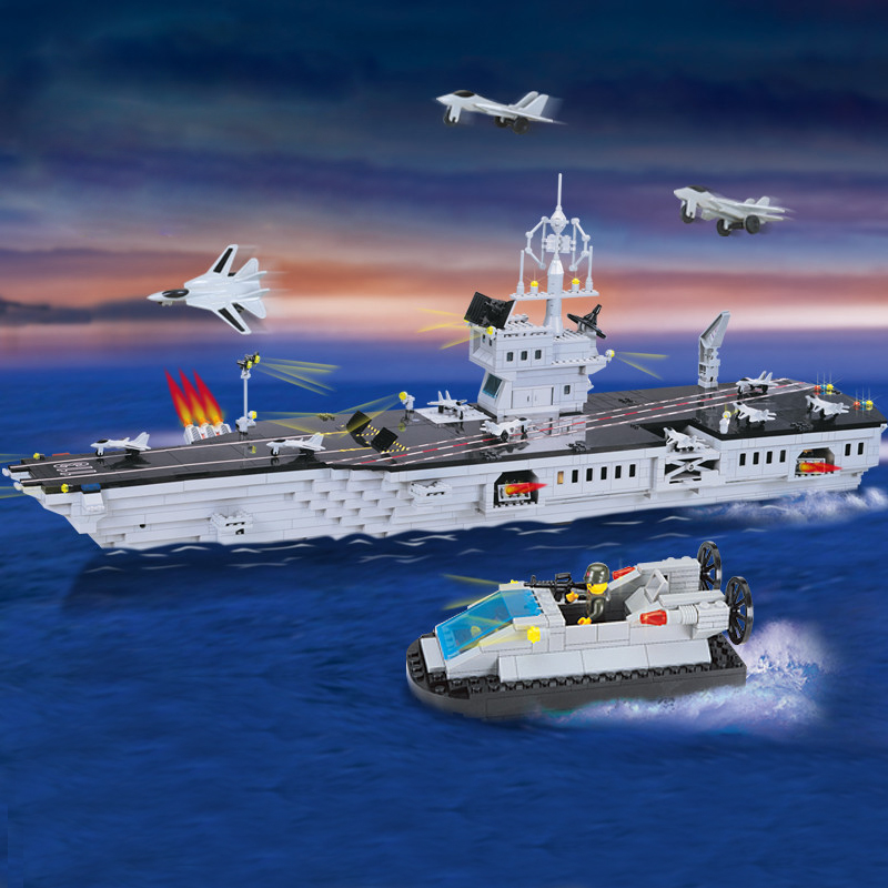 Enlighten Military Educational Building Blocks Toys For Children Gifts Army Boat AircraftCarrier Weapon Compatible With Legoe