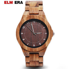ELMERA Mens Wood Watch clock Case Watches for Men and Women Wood Watch for Men's Souvenir Unique Watch Quartz relogio masculino