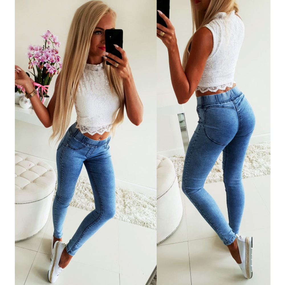 Summer Women Denim Jeans Fashion Ladies Elastic Waist Skinny Trousers Pants Female Casual Mid Waist Pencil Pant Denim Jeans H40