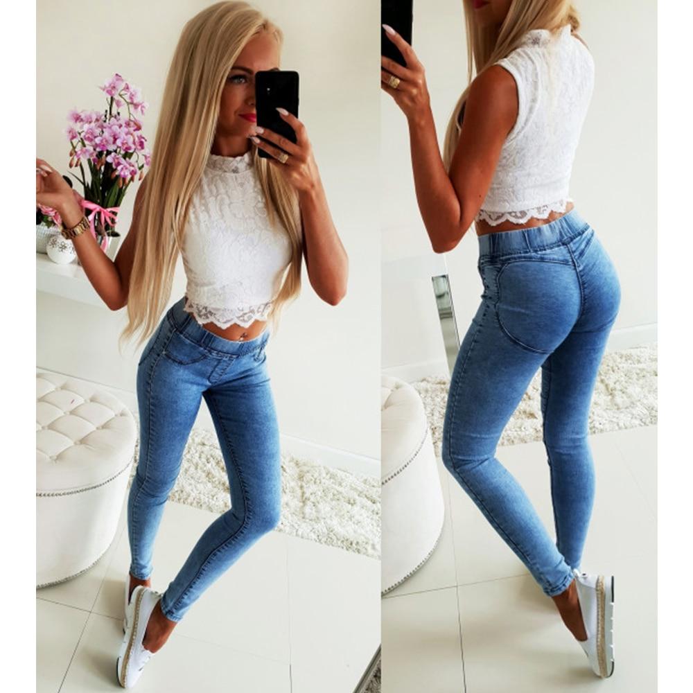 Summer Women Denim Jeans Fashion Ladies Elastic Waist Skinny Trousers Pants Female Casual Mid Waist Pencil Pant Denim Jeans H40
