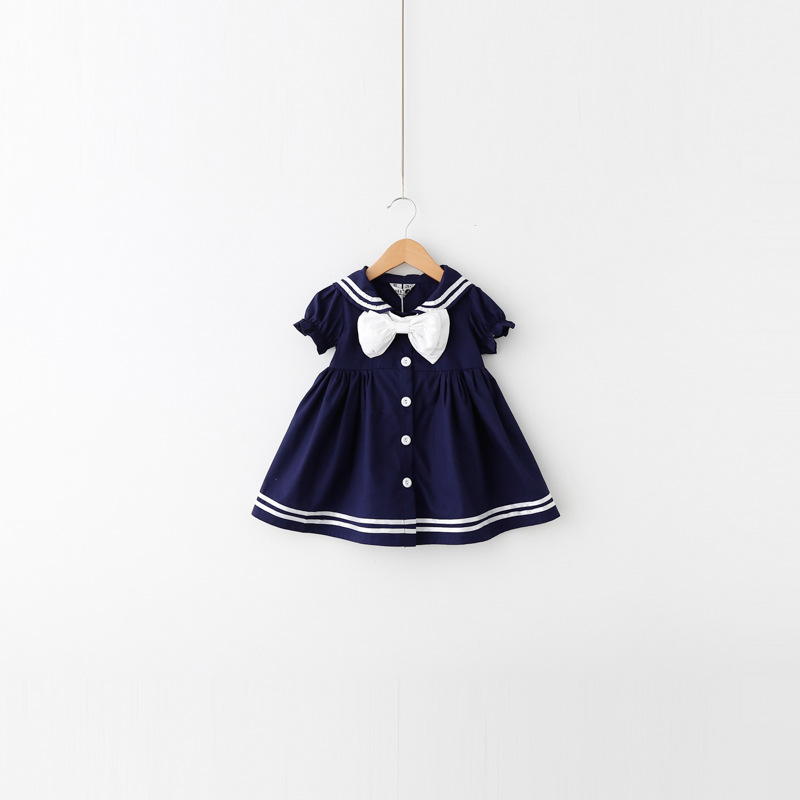 2015 Summer baby girl dress,school girls preppy style dresses,fashion new korea cute bow cloth,cotton navy suit 1-6 years 2 8y korea style cute bow belt sleeveless round collar assorted color performing dress layered dress girl evening dress
