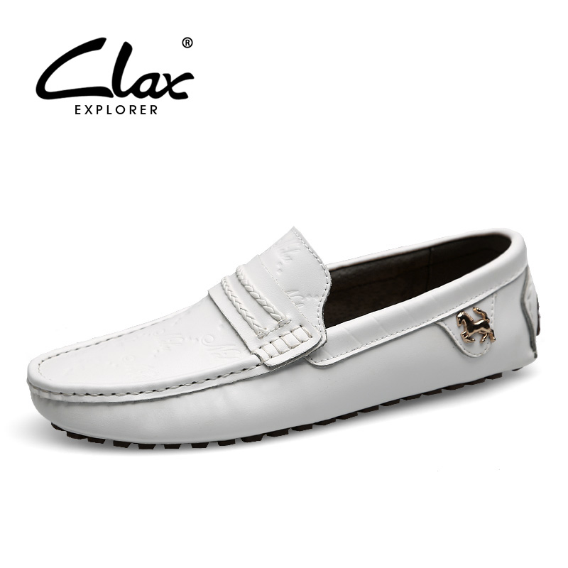 CLAX Mens Leather Loafers Shoe Slip On 2017 Summer Autumn Black White Moccasin Male Elegant Leisure Shoes Flat Casual Footwear