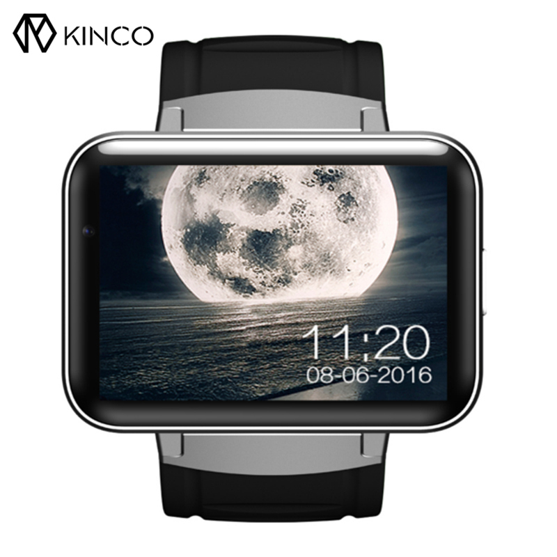 KINCO Newest Camera Smart Watch Phone 320*240 HD Resolution 2.2Inch Large Screen 3G WIFI GPS Wristband Support For IOS/Android imacwear sparta m7 1 54 inch touch screen 3g smart watch phone ip67