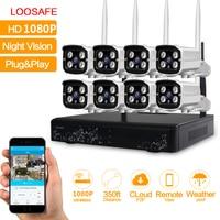 Loosafe Wifi IP Camera CCTV Security System 8CH CCTV Wireless 1080P NVR Videcam 8PCS 2 0MP