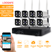 Loosafe Wifi IP Camera CCTV Security System 8CH CCTV Wireless 1080P NVR Videcam 8PCS 2 0MP