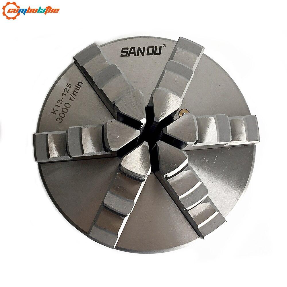 Haute précision du mandrin de tour 125mm 5 ''pouces K13-125 six mâchoires mandrin avec acier trempé à vendre