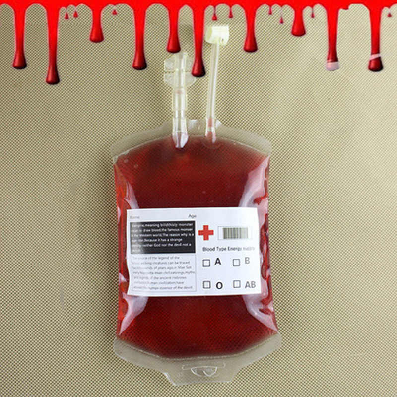 Blood Bag Halloween Funny Reusable Novelty Drink Bag Prop Juice Pouch for Party