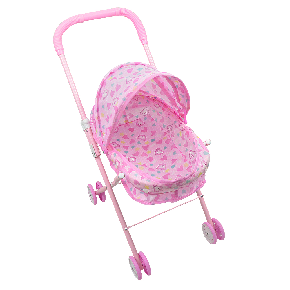 Carriage Type Strollers Us 15 63 41 Off Infant Baby Play Pink Toys Stroller Trolley Carriage Driven Wheels Type Folding Strollers Toy Birthday Christmas Gift In Furniture