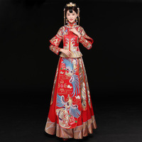 Vintage Red Bride Marry Dress Ancient embroidered phoenix royal princess costume Traditional Chinese Women Wedding Cheongsam
