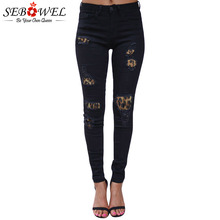 SEBOWEL Leopard Patch Detail Distressed Pencil Jeans Woman New Fashion 2019 Female Ripped Skinny Denim Pants Ladies Long Jeans