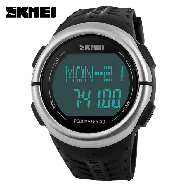 SKMEI Brand Watches men Heart Rate Monitor 3D Pedometer LED Digital Watch Man Waterproof Sport PU strap Quartz-watch