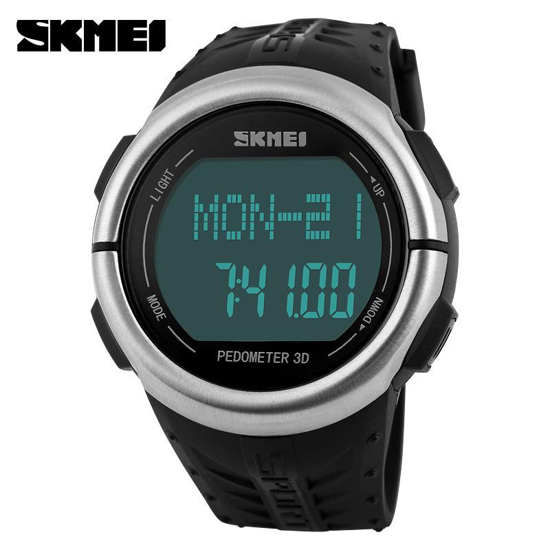 Prix pour SKMEI Marque Montres hommes Moniteur de Fréquence Cardiaque 3D Podomètre LED Numérique Montre Homme Étanche Sport PU bracelet Quartz-montre