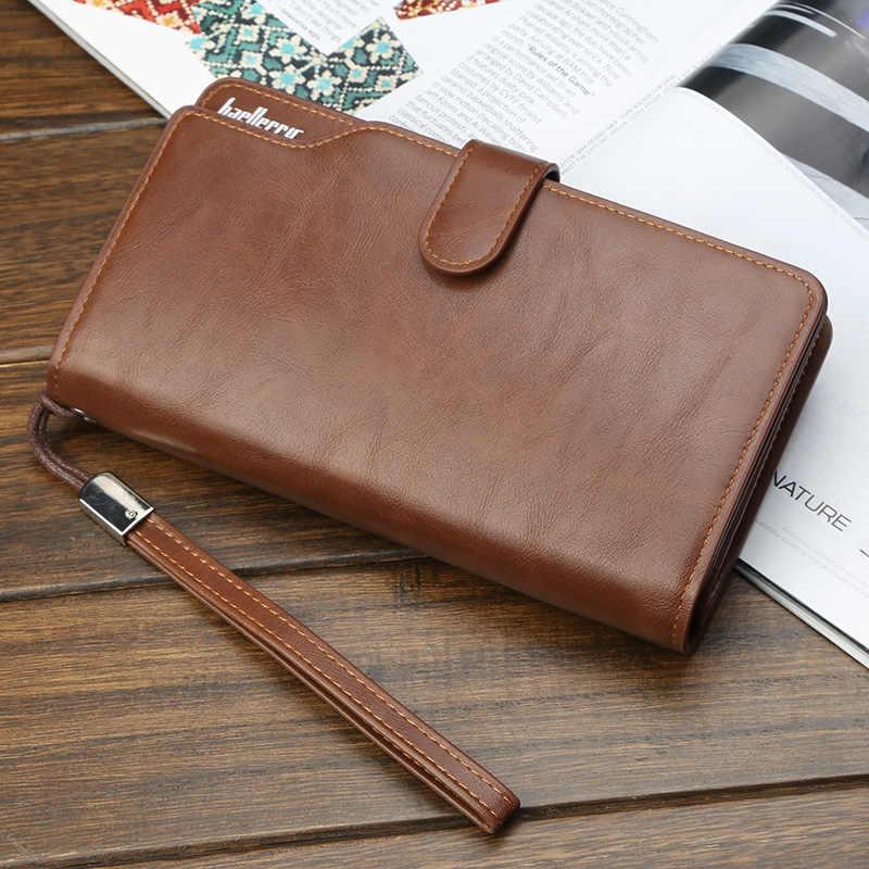 6843cc97ba7 ... Business Wallet Men Leather Clutch Long Phone Money Bag Mens Coin Purse  Card Holder Male Wallets ...